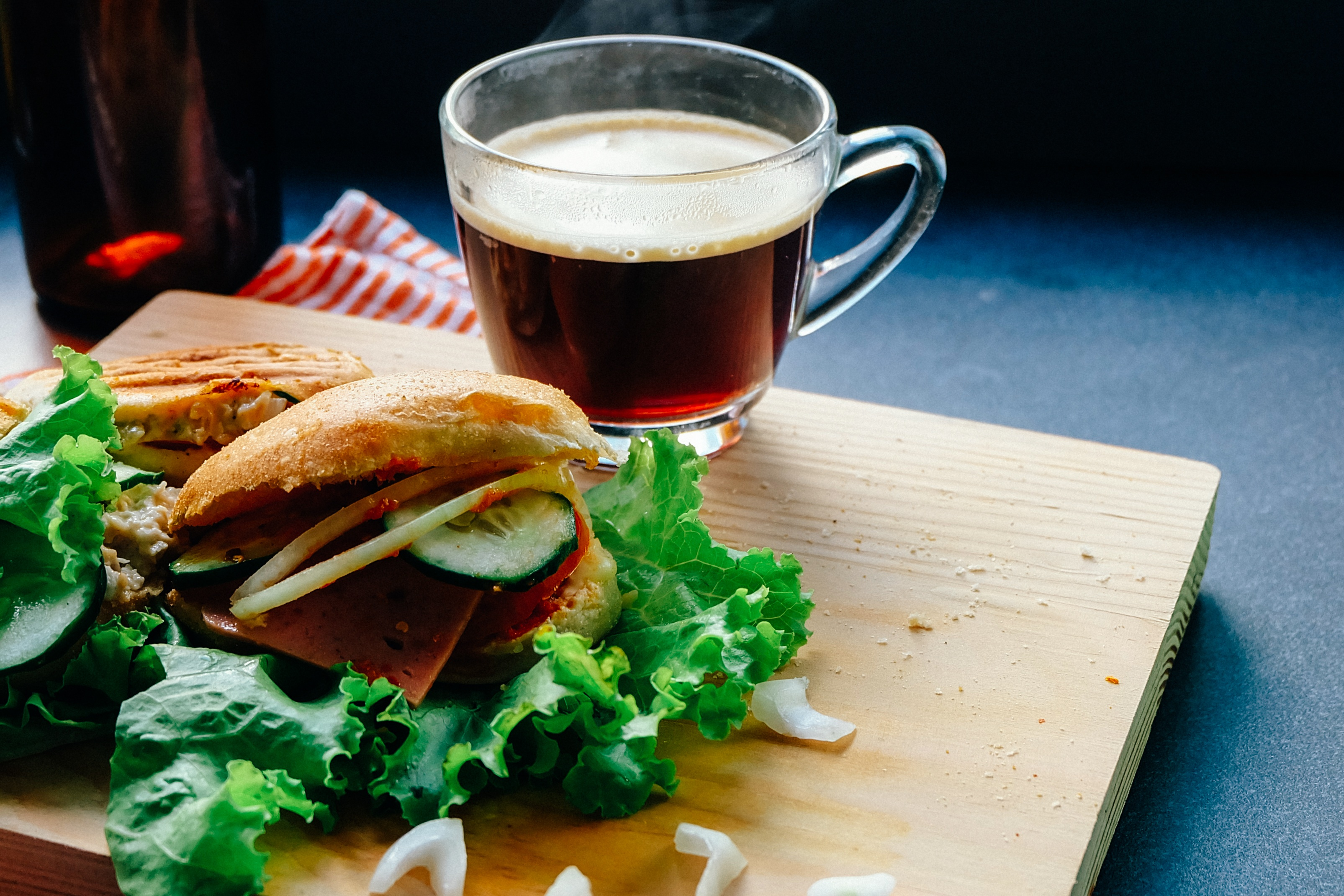 Perfect burger with coffee
